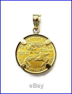 1/10 oz American Eagle $5 Gold Coin Necklace Charm Pendant
