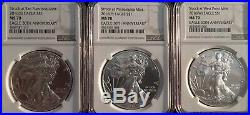 $1 2016 3 Coin Set (P)S (W) Silver Eagles NGC MS70 Extremely Rare
