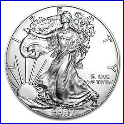 1 Troy Ounce. 999 Fine 2017 American Silver Eagle Bu + 99.9% 24k Gold $100 Bill