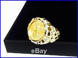 14K Gold Men's 22 MM NUGGET COIN RING with a 22 K 1/10 OZ AMERICAN EAGLE COIN