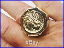 14K Gold Men's 27 MM COIN RING with a 22 K 1/4 OZ AMERICAN EAGLE COIN