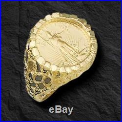 14K Gold Men's 27 MM NUGGET COIN RING with a 22 K 1/4 OZ AMERICAN EAGLE COIN