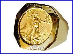 14K Gold Mens COIN RING with a 22K 1/10 OZ AMERICAN EAGLE COIN