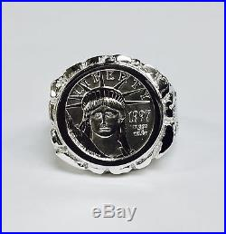 14K White Gold Men's NUGGET COIN RING with 1/10 OZ PLATINUM AMERICAN EAGLE COIN