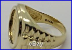 14K Yellow Gold 1/10 1990 Gold American Eagle Coin Ring Size 10 12.6 Grams