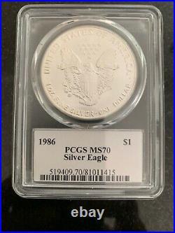 1986 $1 Silver Eagle MS70 PCGS John Mercanti Signed