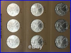 1986-2020 $1 American Silver Eagle 35 Coin Set incl. KEY 1996 in Dansco album