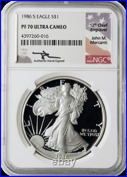 1986 & 2020 Silver Eagle NGC PF70 2-Coin Set John Mercanti Signed with Mahogany