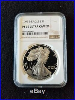 1995 P PROOF SILVER AMERICAN EAGLE PF-70 NGC UCAM (Brown Label)