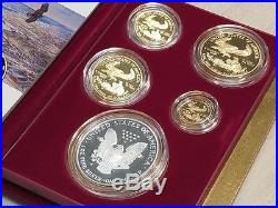 1995 W Proof Gold and Silver American Eagles 10th Anniversary 5 Coin Set US Mint