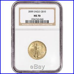 2005 American Gold Eagle 1/4 oz $10 NGC MS70