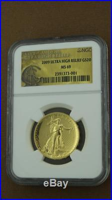 2009 1 oz $20 Gold Saint-Gaudens Double Eagle NGC MS69 Ultra High Relief Coin