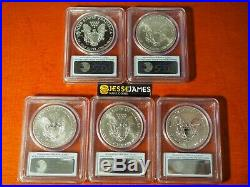 2011 P Reverse Proof Silver Eagle Pcgs Pr69 Ms69 5 Coin 25th Anniversary Set