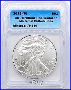 2015-(P) $1 Silver Eagle STRUCK AT PHILADELPHIA ICG Brilliant Uncirculated
