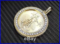 2016 1oz Gold American Eagle/Liberty coin 14K Diamond frame/holder pendant/Charm