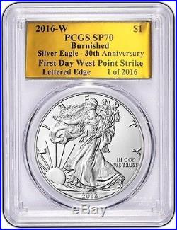 2016 W BURNISHED SILVER EAGLE PCGS SP70 FD WP 30TH Anniversary GOLD FOIL