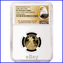 2016-W Proof $10 American Gold Eagle 1/4 oz NGC PF70UC 30th Anniv. ER Label
