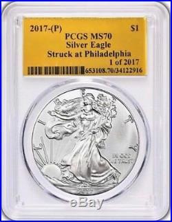 2017 (P) $1 Silver Eagle PCGS MS70 STRUCK AT PHILADELPHIA Population just 109