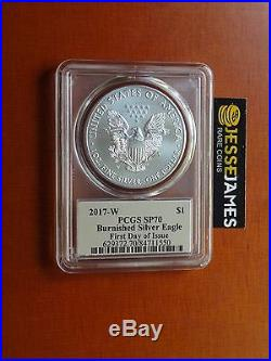 2017 W Burnished Silver Eagle Pcgs Sp70 Cleveland Art Deco First Day Of Issue
