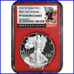 2017-W Proof $1 American Silver Eagle NGC PF70UC 3pc FDI Black Label Red White B