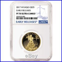 2017-W Proof $25 American Gold Eagle 1/2 oz NGC PF70UC Blue ER Label