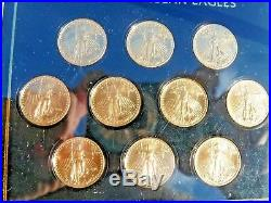 2018 1/10 oz. $5.00 Gold American Eagle Lot of 10 (Ten) Total of 1 Ounce