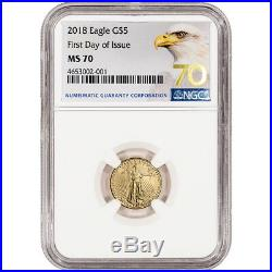 2018 American Gold Eagle (1/10 oz) $5 NGC MS70 First Day of Issue Grade 70