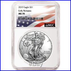 2019 $1 American Silver Eagle 3 pc. Set NGC MS70 Flag ER Label Red White Blue
