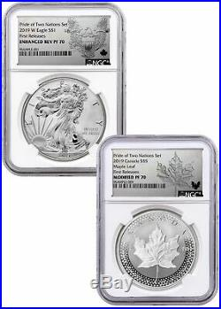 2019 1 oz Silver Eagle & Maple Pride Two Nations NGC PF70 FR PRESALE SKU58578