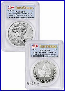 2019 1 oz Silver Eagle & Maple Pride of Two Nations PCGS PR70 FS SKU58640