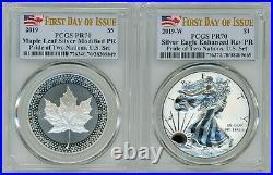 2019-P & W FDOI Pride of Two Nations Silver Eagle & Maple Leaf SET, PR70 PCGS
