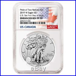 2019 Pride of Two Nations 2pc. Set U. S. Set NGC PF70 FDI Flags Label WithOGP OGP74