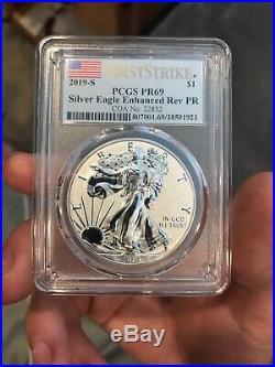 2019-S $1 American Eagle 1oz Silver Enhanced Reverse Proof PCGS PR69 withCOA & Box