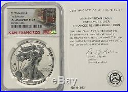 2019 S $1 Enhanced Reverse Proof Ngc Pf70 First Releases Silver Eagle Coin 1,493