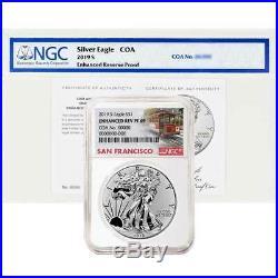 2019-S Enhanced Reverse Proof $1 American Silver Eagle / COA # NGC PF69 Trolley