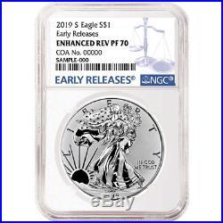 2019-S Enhanced Reverse Proof $1 American Silver Eagle / COA # NGC PF70 Blue ER
