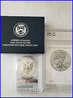 2019-S Silver Eagle Dollar Enhanced Reverse Proof PR70 PCGS FS COA Encapsulated