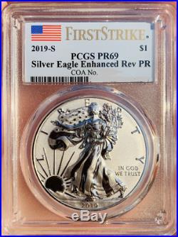 2019 S Silver Eagle Enhanced Reverse PCGS PR69 First Strike Gold Shield