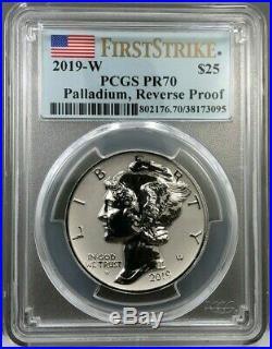 2019-W $25 Reverse Proof 1oz American Palladium Eagle PCGS PR70 First Strike