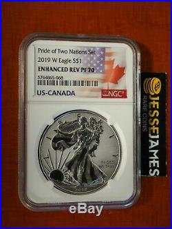 2019 W Enhanced Reverse Proof Silver Eagle Ngc Pf70 From Pride Of Nations Set