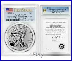2019-s American Eagle One Ounce Silver Enhanced Reverse Proof Coin Set Pcgs