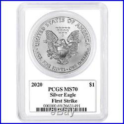 2020 $1 American Silver Eagle 3pc. Set PCGS MS70 FS Trump Label Red White Blue
