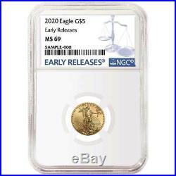 2020 $5 American Gold Eagle 1/10 oz. NGC MS69 Blue ER Label