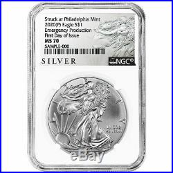 2020 (P) $1 American Silver Eagle NGC MS70 Emergency Production ALS FDI Label