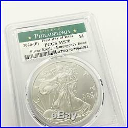 2020 (P) 1oz American Silver Eagle MS-70 PCGS (FDI Philadelphia) Emergency Issue