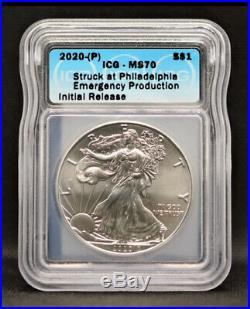 2020 (P) Silver Eagle ICG MS70 S$1 Philadelphia Struck Emergency Production
