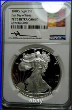 2020 S American Silver Eagle Ngc Pf 70 Ultra Cameo Hand Signed John M. Mercanti