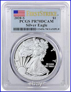 2020 S Proof American Silver Eagle San Francisco PCGS PR70 DCAM FS Flag PRESALE