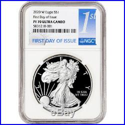 2020-W American Silver Eagle Proof NGC PF70 UCAM First Day Issue 1st Label