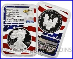 2020 W American Silver Eagle -ngc Pf70 Congratulations Set Flag Core Fdo Release